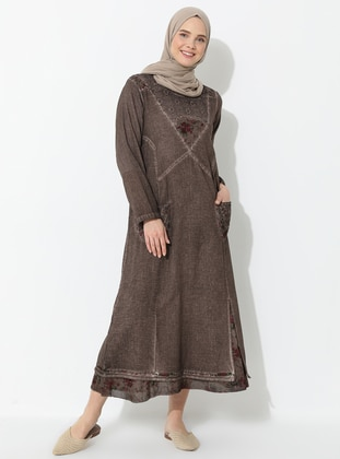 Brown - Crew neck - Fully Lined - Cotton - Dress