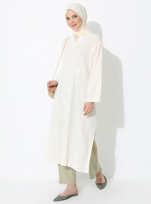 Cream - V neck Collar - Unlined - Cotton - Dress