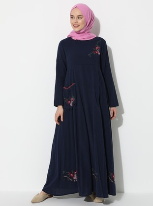 Navy Blue - Crew neck - Fully Lined - Cotton - Dress