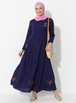 Purple - Crew neck - Fully Lined - Cotton - Dress