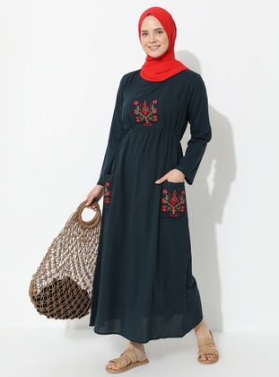 Petrol - Crew neck - Fully Lined - Cotton - Dress