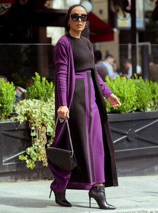 Purple - Unlined - Acrylic - Wool Blend - Suit