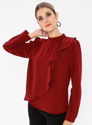 Maroon - Polo neck - Blouses - Fashion Light