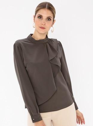 Khaki - Polo neck - Blouses