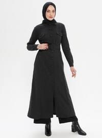 Noir - Tissu non doublé - Col français -  - Abaya