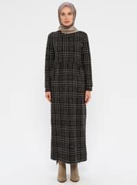 Vizon - Ekose - Yuvarlak yakalı - Astarsız kumaş - Viskon - Elbise