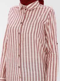 Maroon - Stripe - Point Collar -  - Tunic