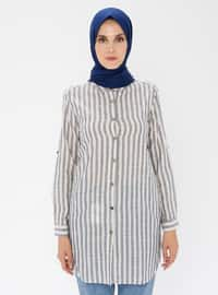 Navy Blue - Stripe - Point Collar - - Tunic