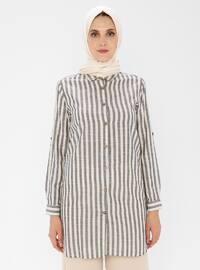 Black - Stripe - Point Collar -  - Tunic