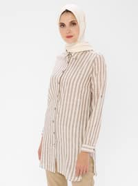 Brown - Stripe - Point Collar -  - Tunic
