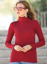 Maroon - Polo neck - Acrylic -  - Jumper