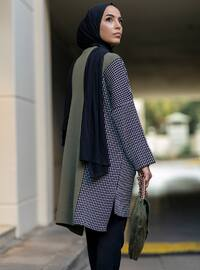Khaki - Checkered - Crew neck - Acrylic -  - Tunic