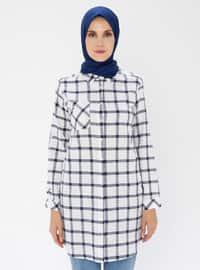 Navy Blue - Checkered - Point Collar -  - Tunic