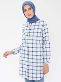 Saxe - Checkered - Point Collar -  - Tunic