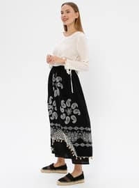 Black - Black - Floral - Ethnic - Fully Lined - Cotton - Black - Floral - Ethnic - Fully Lined - Cotton - Black - Floral - Ethnic - Fully Lined - Cotton - Skirt