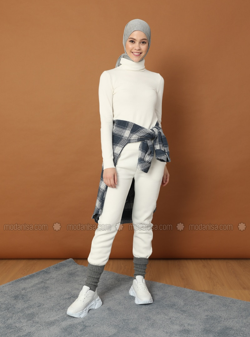 White - Polo neck - Acrylic - - Jumper