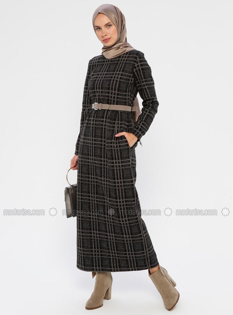 Mink - Plaid - Crew neck - Unlined - Viscose - Dress