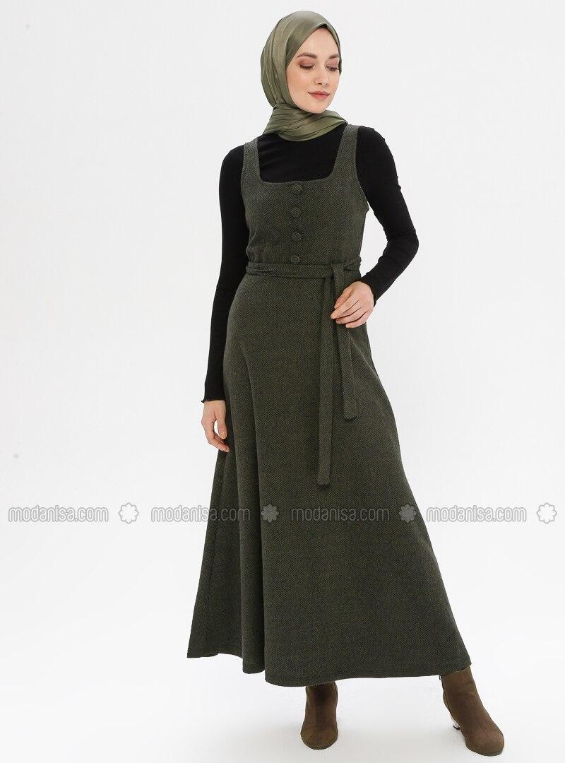 Khaki - Sweatheart Neckline - Unlined - - Dress