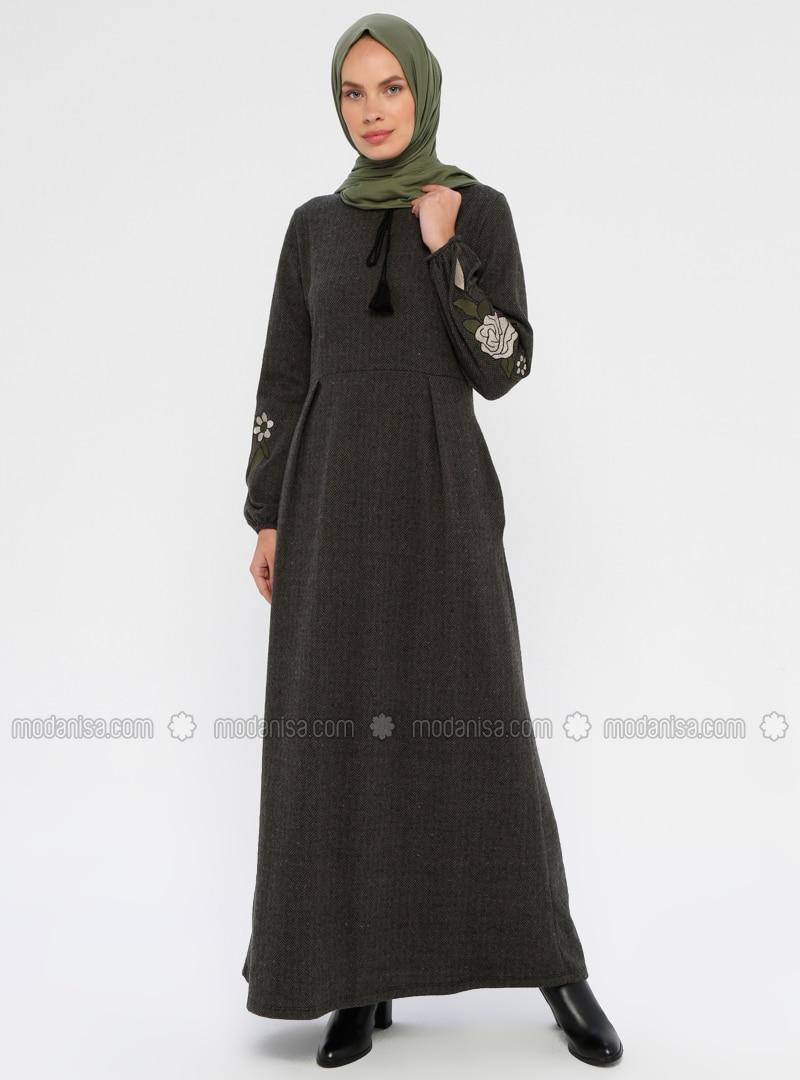 Khaki - Unlined - Crew neck - Dress