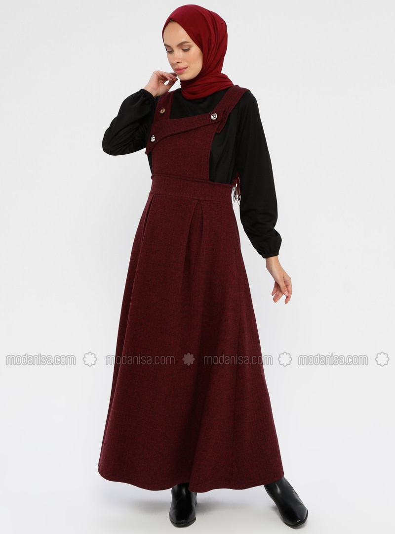 Maroon - Unlined - Viscose - Dress