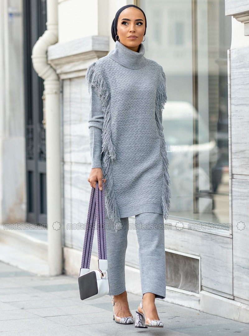 Gray - Unlined - Acrylic - Suit