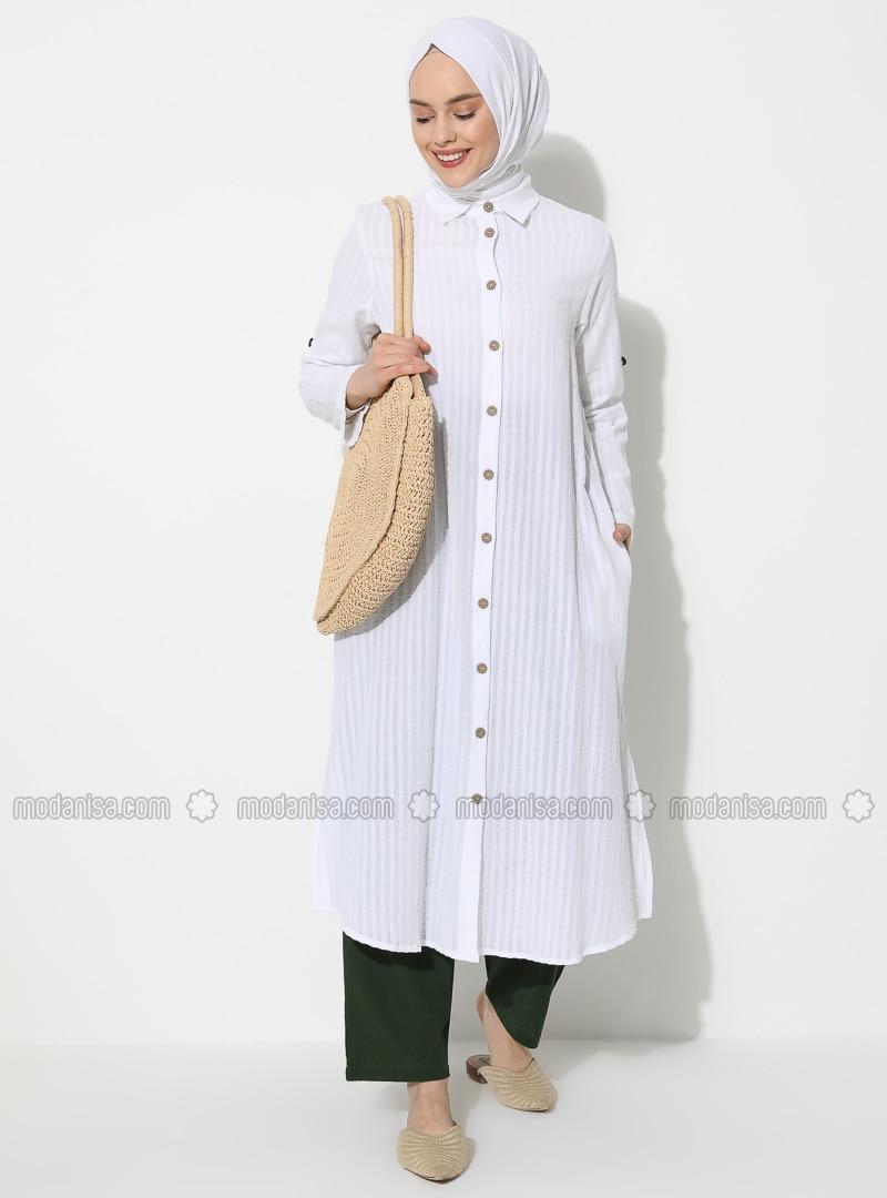 White - White - Stripe - Point Collar - Cotton - Tunic