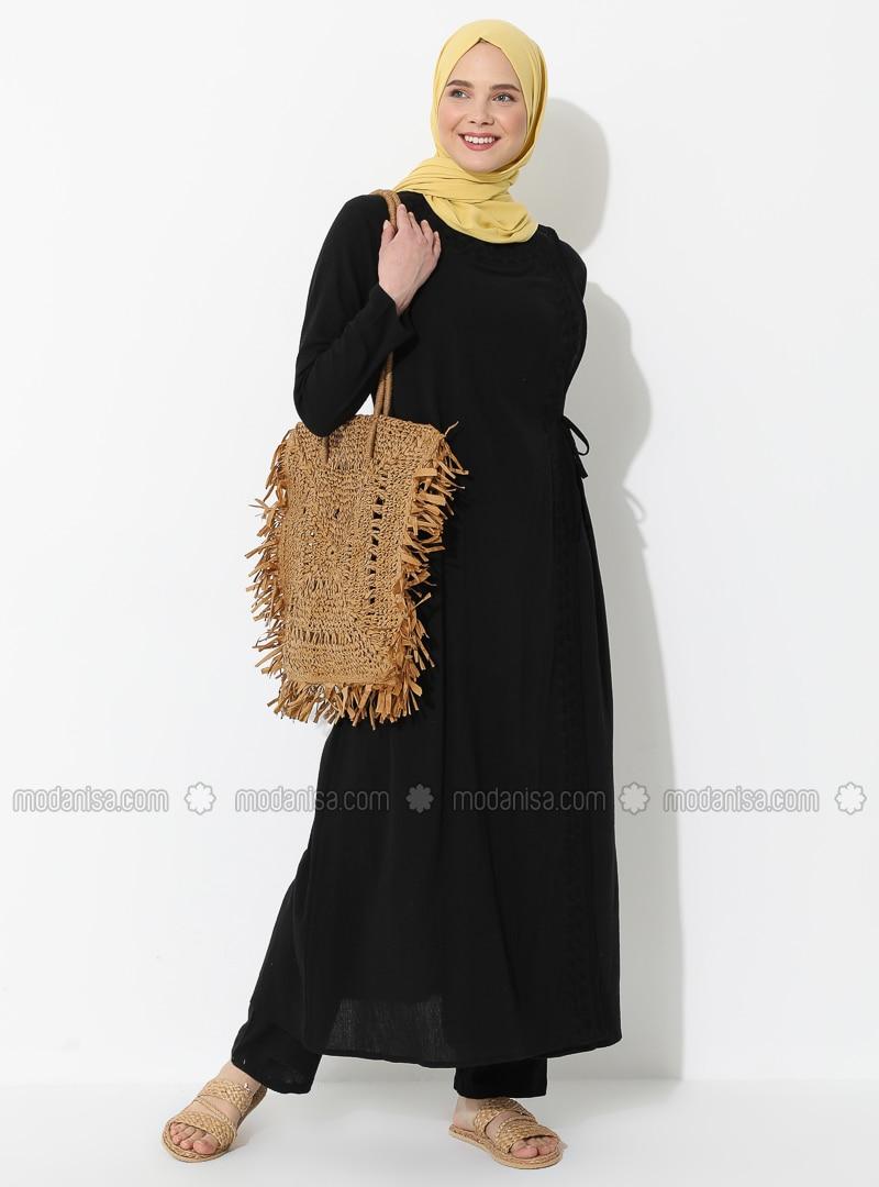Black - Black - Unlined - Crew neck - Cotton - Abaya