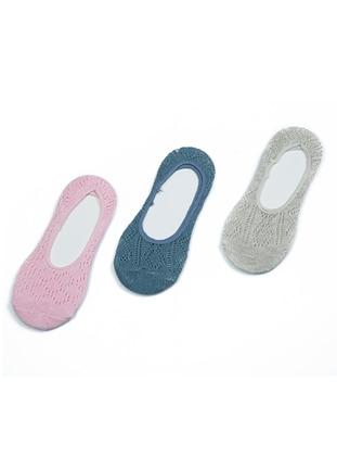 Gray - Pink - Petrol -  - Socks