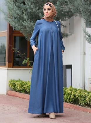 Blue - Crew neck - Unlined -  - Dress