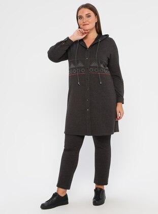 Gray -  - Plus Size Pants