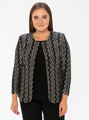 Black - Stripe - Crew neck - Fully Lined - Plus Size Evening Suit