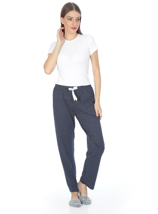 White - Navy Blue -  - Pyjama