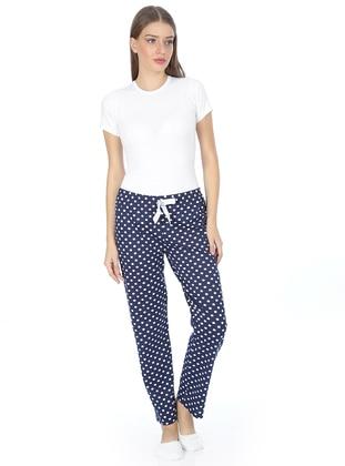 White - Navy Blue - Polka Dot -  - Pyjama - AKBENİZ