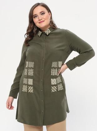 Khaki - Point Collar - Plus Size Tunic
