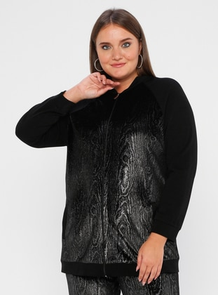 Black - Unlined - Crew neck - Plus Size Coat - SEDNA