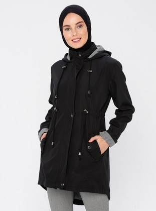 Black - Black - Fully Lined - Trench Coat
