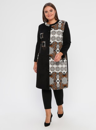 Black - Multi - Fully Lined - Plus Size Overcoat - SEDNA