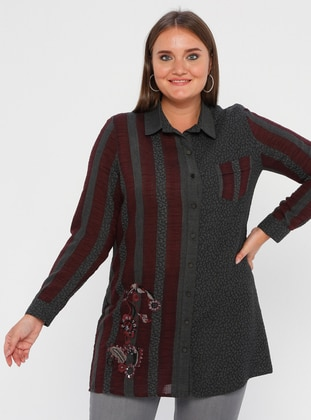 Maroon - Stripe - Point Collar - Nylon - Viscose - Plus Size Blouse