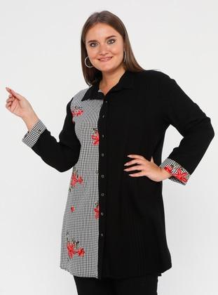 Black - Floral - Plaid - Point Collar - Nylon - Plus Size Tunic