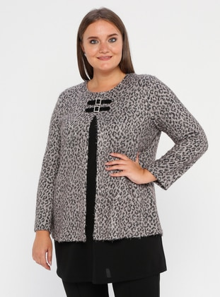 White - Black - Leopard - Crew neck - Acrylic -  - Plus Size Tunic