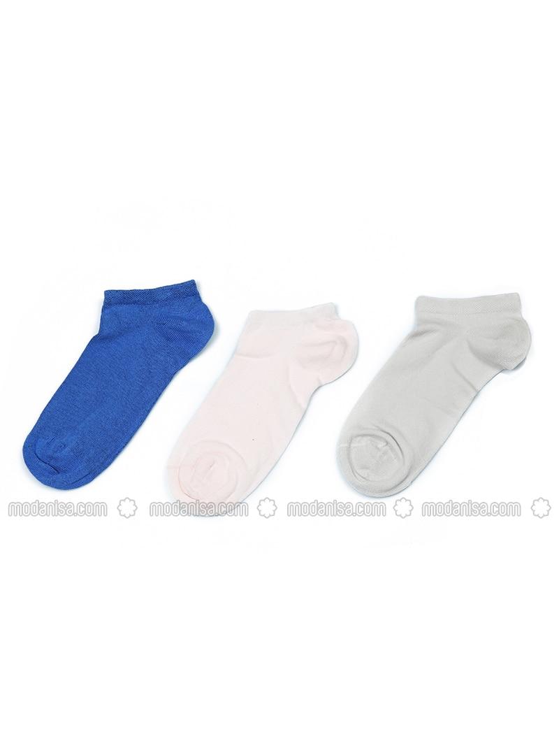 Blue - Pink - Nude -  - Socks