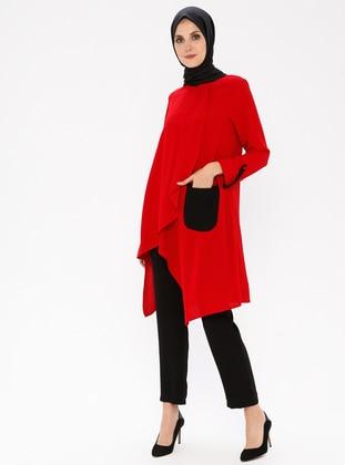 Red - Polo neck - Viscose - Tunic