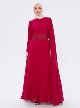 Fuchsia - Cherry - Fully Lined - Crew neck - Muslim Evening Dress