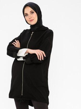 Black - Unlined - Viscose - Topcoat