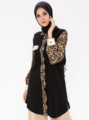 Black - Leopard - Point Collar - Viscose - Tunic
