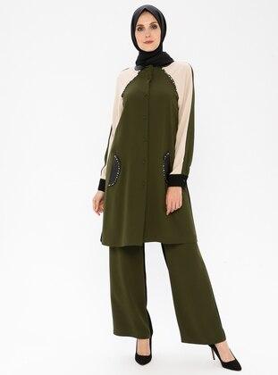 Khaki - Unlined - Viscose - Suit