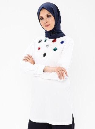 White - Polo neck - Viscose - Tunic