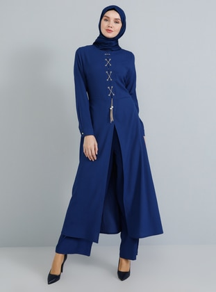 Indigo - Unlined - Crew neck - Jumpsuit