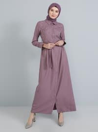 Dusty Rose - Point Collar - Unlined - Dress