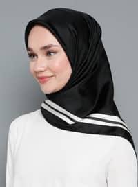 Black - Plain - %100 Silk - Twill - Scarf